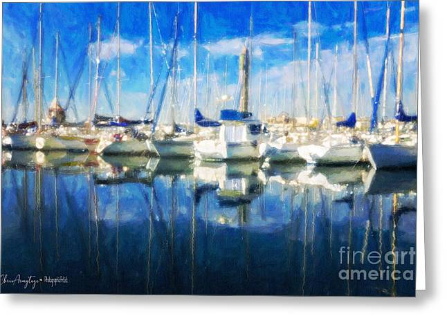 Greeting Card featuring the painting Sail Boats In Port by Chris Armytage