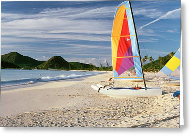 Sail Boats On The Beach, Antigua Greeting Card by Panoramic Images