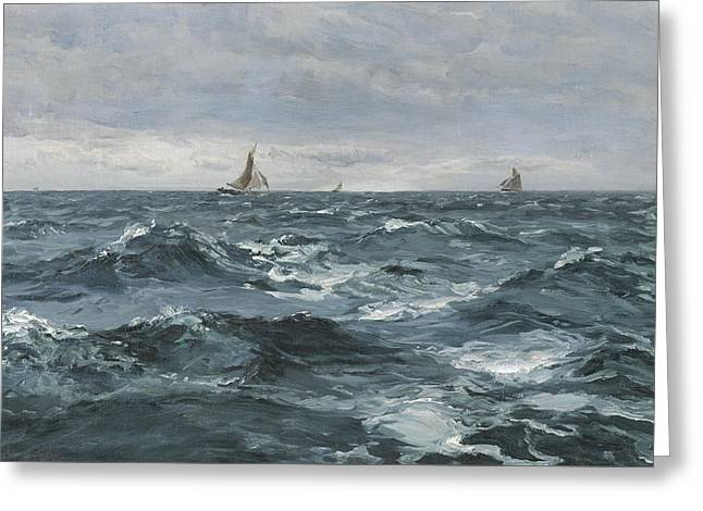 Sail On A Rough Sea Greeting Card by Henry Moore