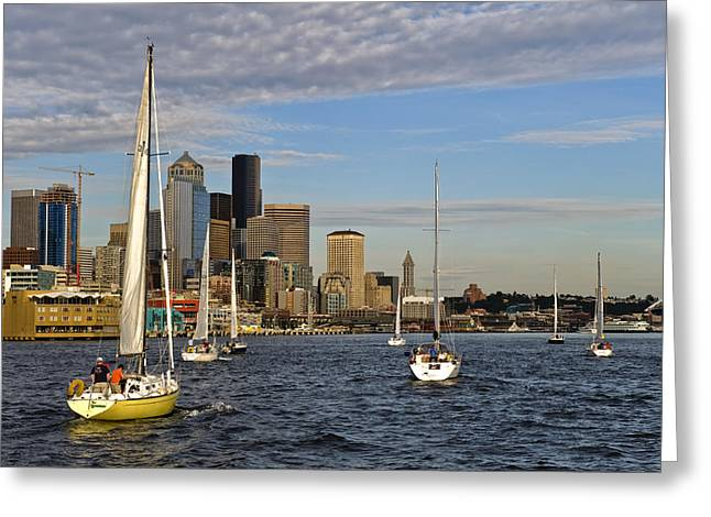 Sail Seattle Greeting Card by Tom Dowd