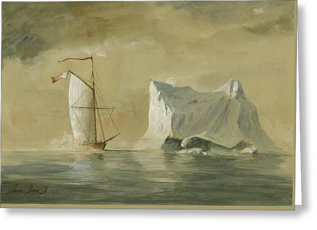 Sail Ship At The Ice Greeting Card by Juan Bosco