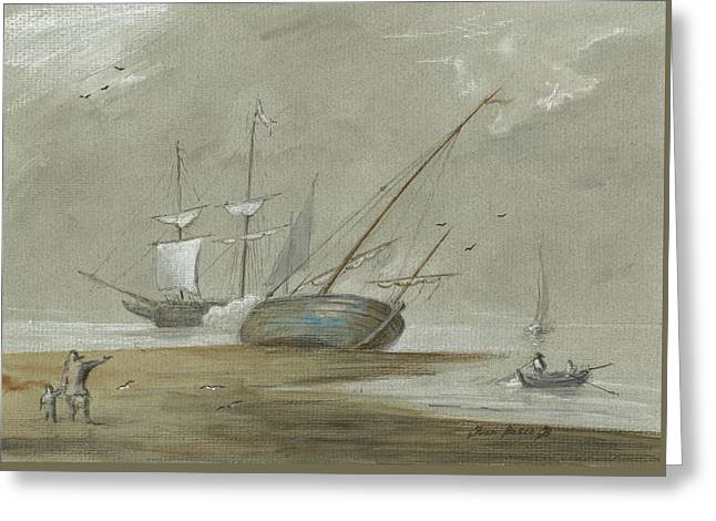 Sail Ships And Fishing Boats Greeting Card by Juan Bosco
