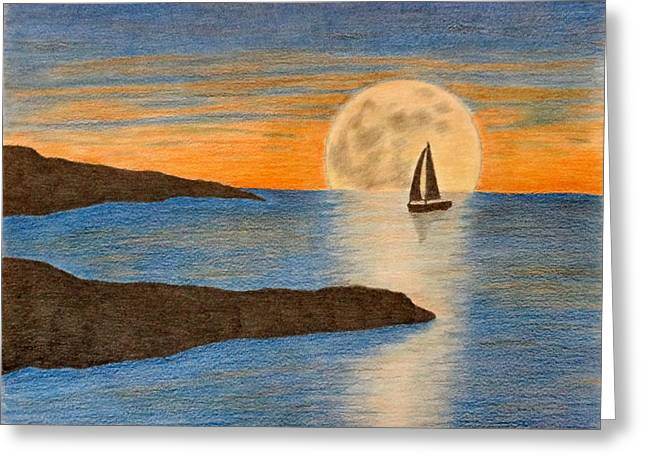 sailboat and Moon Greeting Card by Karrie Zenz