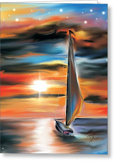 Greeting Card featuring the digital art Sailboat And Sunset by Darren Cannell