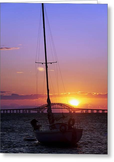 Sailboat And The Bridge At Sunrise Greeting Card by Vicki Jauron