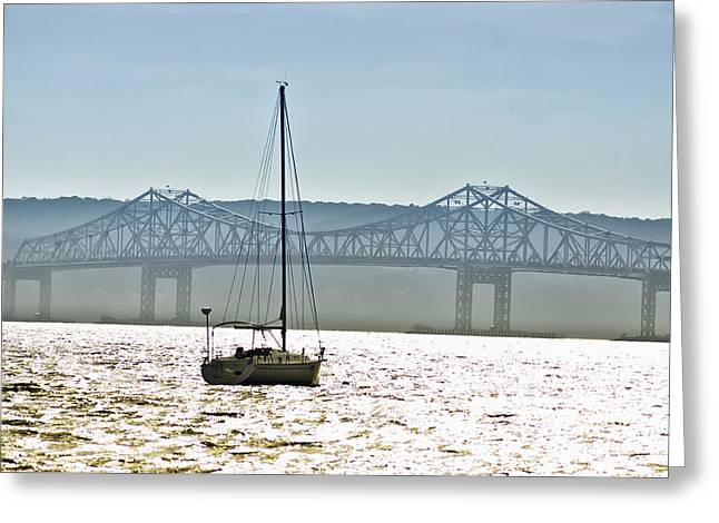 Sailboat And The Tappan Zee Bridge Greeting Card by Bill Cannon