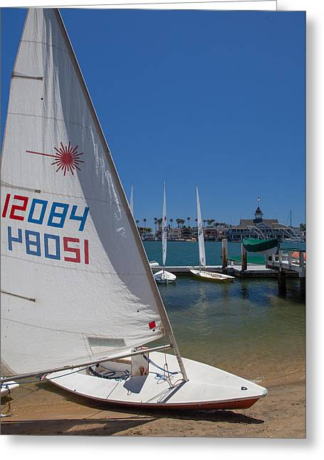Sailboat At Newport Beach Harbor Greeting Card by Cliff Wassmann