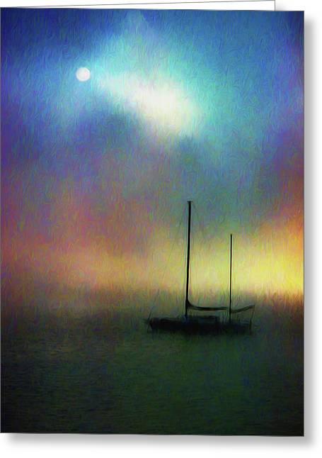 Sailboat At Sunset Greeting Card