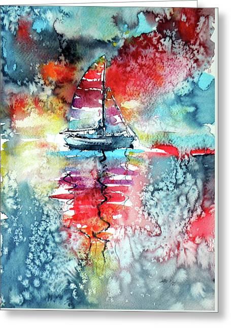 Sailboat At The Sinshine Greeting Card by Kovacs Anna Brigitta