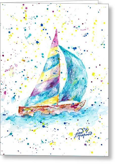 Sailboat By Jan Marvin Greeting Card