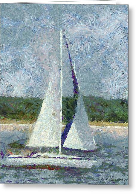 Sailboat Catch The Breeze Greeting Card by Nada Frazier