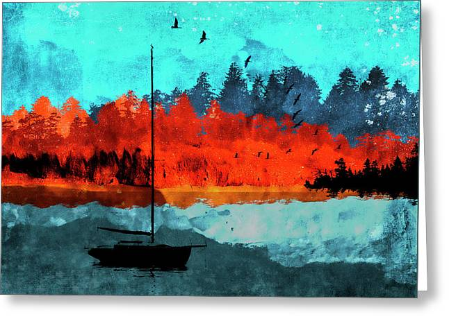 Sailboat Daybreak Lake Greeting Card