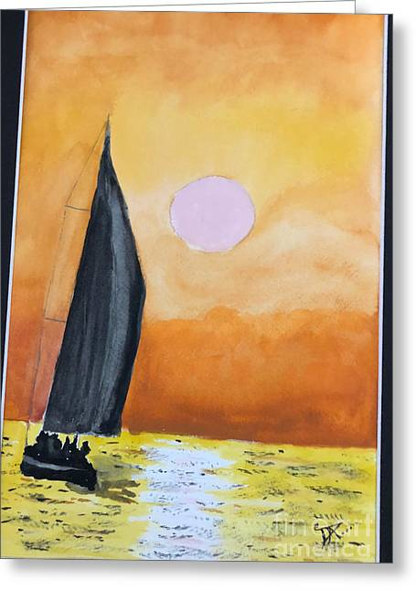 Greeting Card featuring the painting Sailboat by Donald Paczynski
