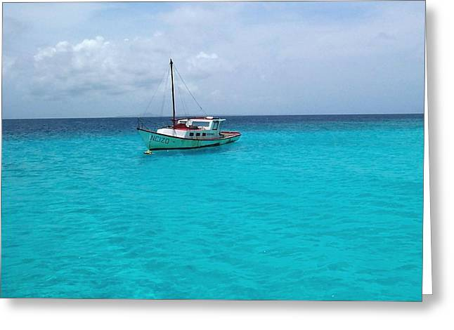Sailboat Drifting In The Caribbean Azure Sea Greeting Card by Amy McDaniel