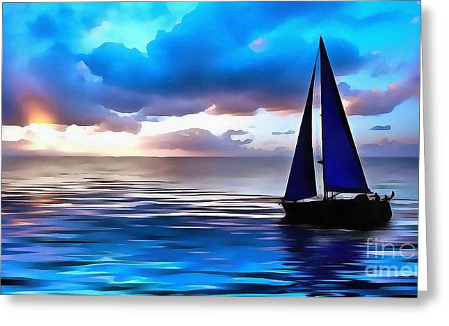 Sailboat Glamour Style Greeting Card by Catherine Lott