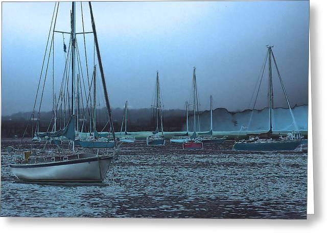 Sailboat Harbor Greeting Card by Karol Livote