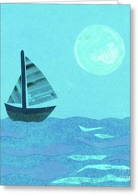 Sailboat In Blue Greeting Card