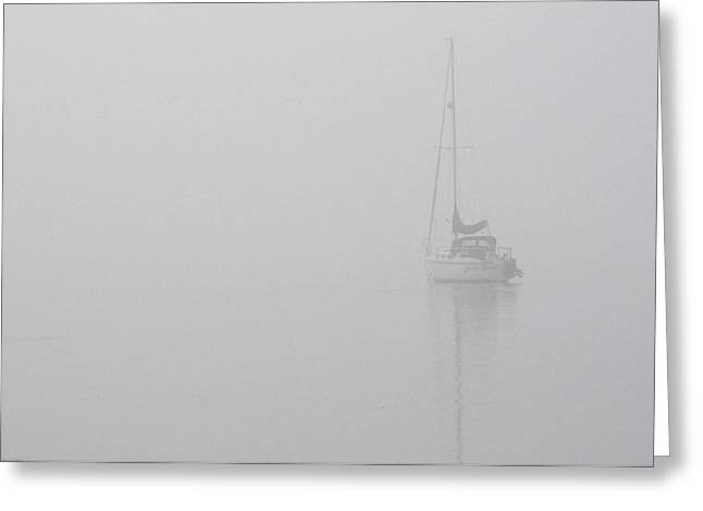 Sailboat In Fog Greeting Card