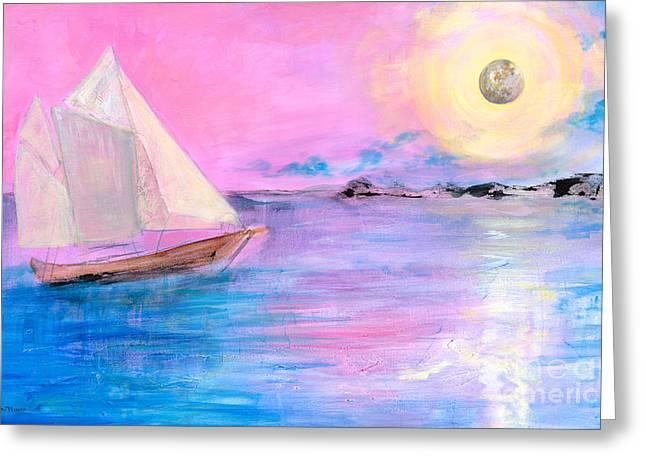 Sailboat In Pink Moonlight  Greeting Card