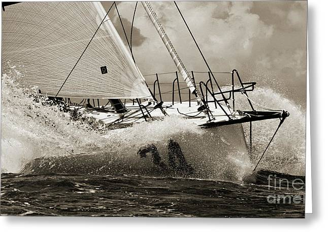 Fast Greeting Cards - Sailboat Le Pingouin Open 60 Sepia Greeting Card by Dustin K Ryan