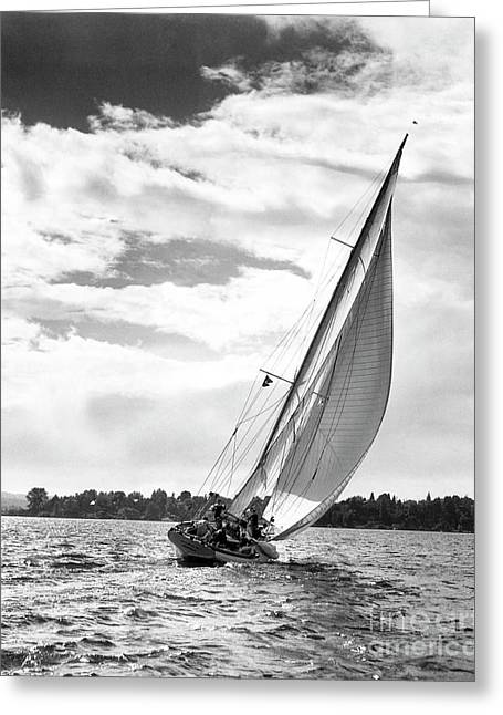 Sailboat Off Shore Greeting Card