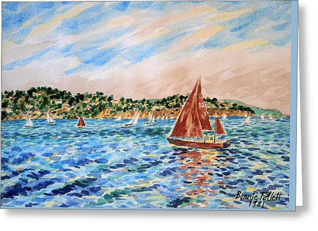 Sailboat On The Bay Greeting Card