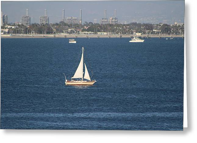 Sailboat On The Pacific In Long Beach Greeting Card
