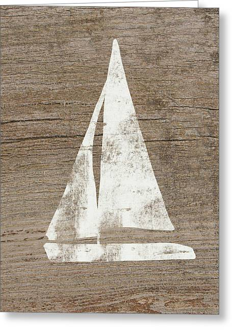 Sailboat On Wood- Art By Linda Woods Greeting Card by Linda Woods