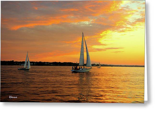 Greeting Card featuring the photograph Sailboat Parade by Robert Henne