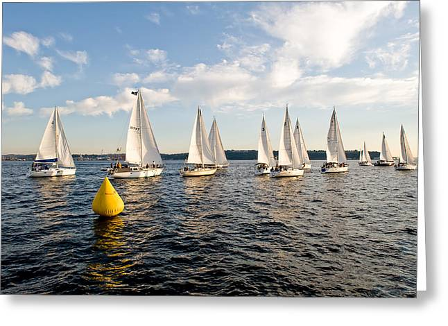 Sailboat Racers Greeting Card by Tom Dowd