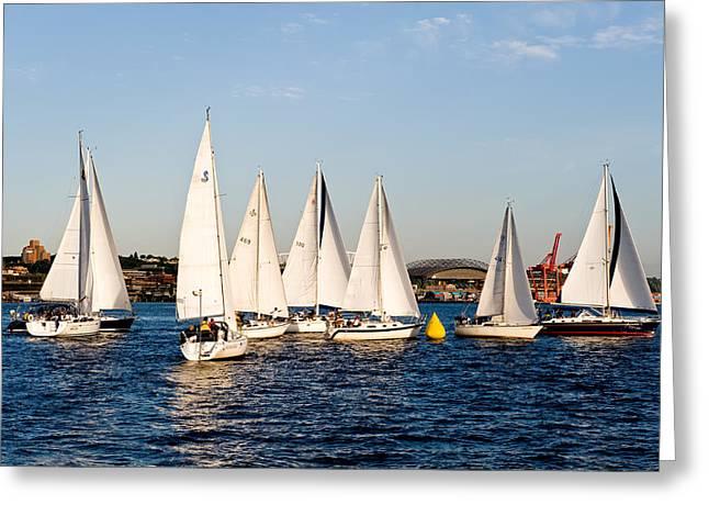 Sailboat Racing Greeting Card by Tom Dowd