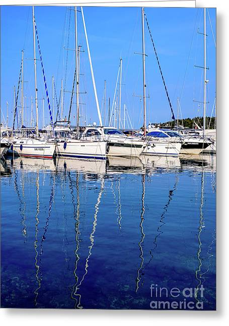 Sailboat Reflections - Rovinj, Croatia  Greeting Card