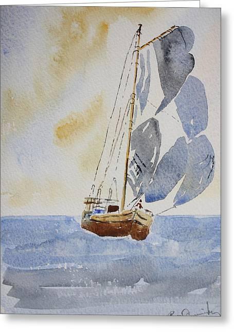 Sailboat Greeting Card by Roger Cummiskey