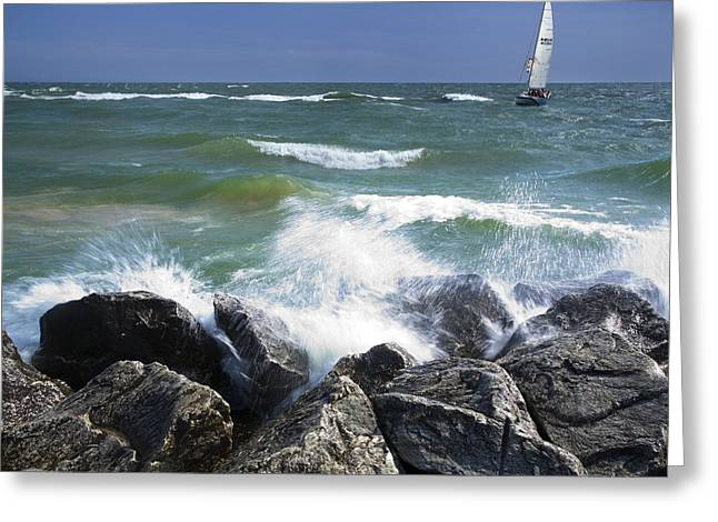 Sailboat Sailing Off The Shore At Ottawa Beach State Park Greeting Card