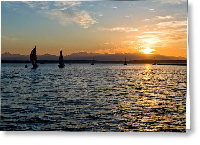 Sailboat Sillohette Sunset Greeting Card by Tom Dowd