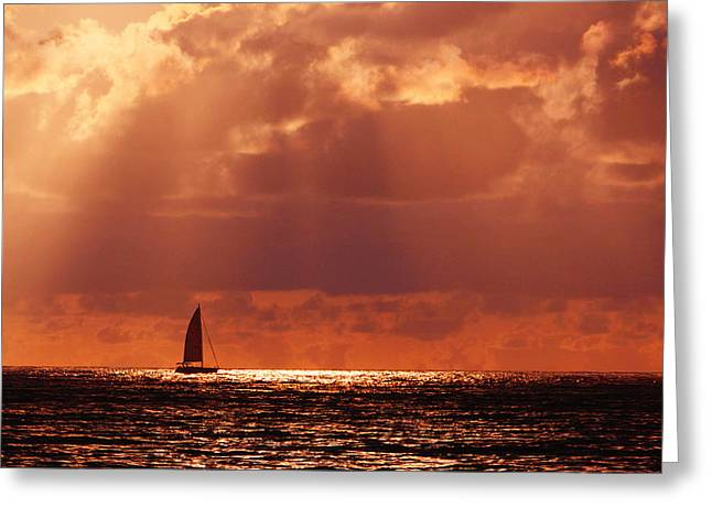 Sailboat Sun Rays Greeting Card