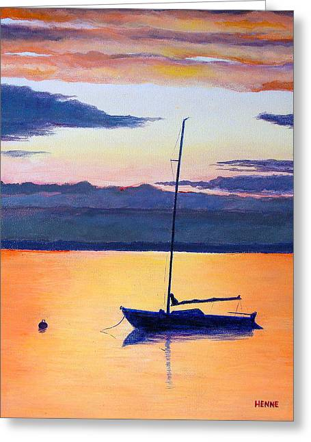 Greeting Card featuring the painting Sailboat Sunset by Robert Henne