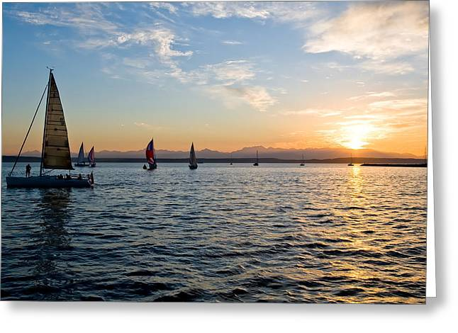 Sailboat Sunset Greeting Card by Tom Dowd
