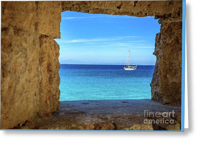 Sailboat Through The Old Stone Walls Of Rhodes, Greece Greeting Card