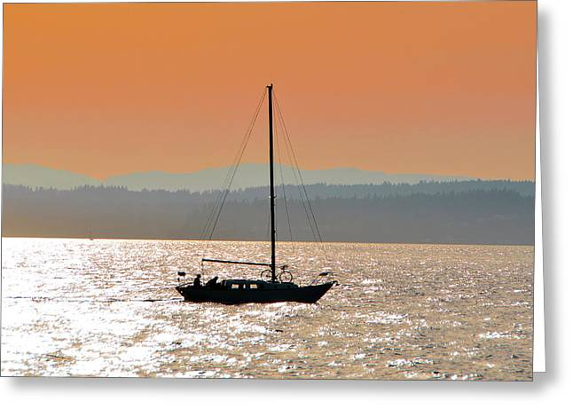 Sailboat With Bike Greeting Card