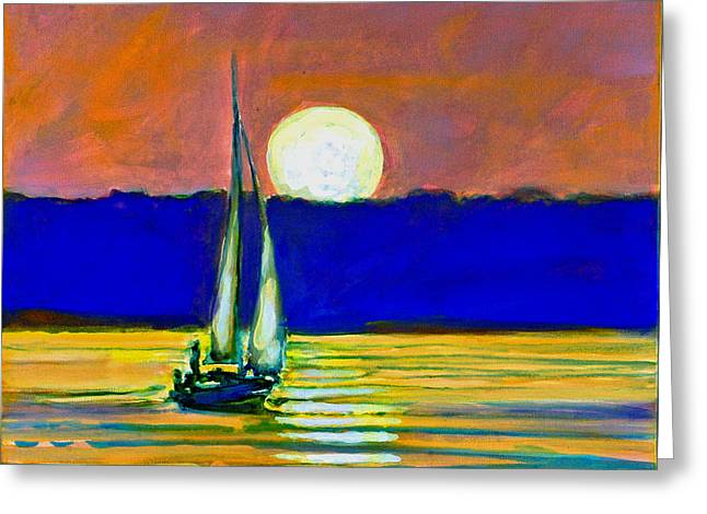 Sailboat With Moonlight Greeting Card by Kip Decker
