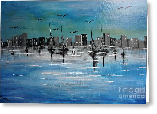 Sailboats And Cityscape Greeting Card