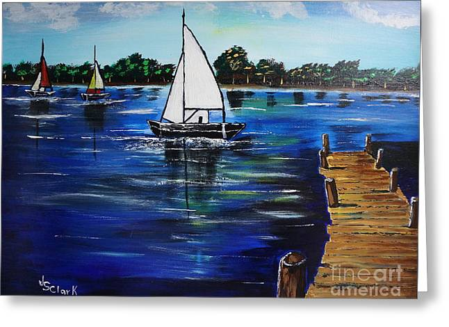 Sailboats And Pier Greeting Card
