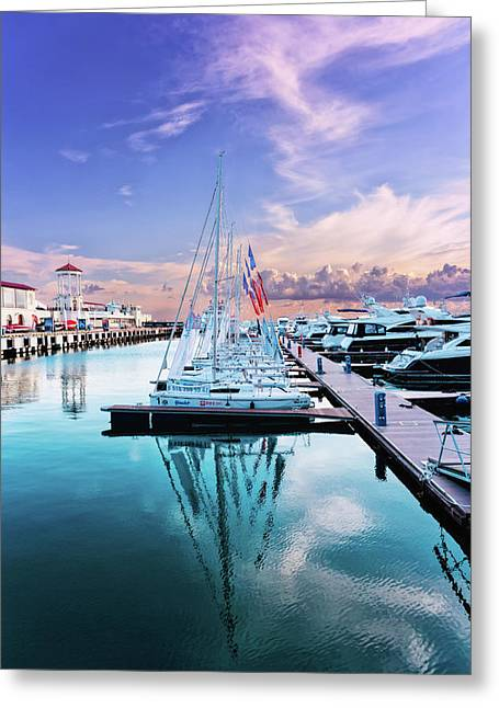 sailboats and yachts in the roads of the main sea channel of the Sochi seaport Greeting Card
