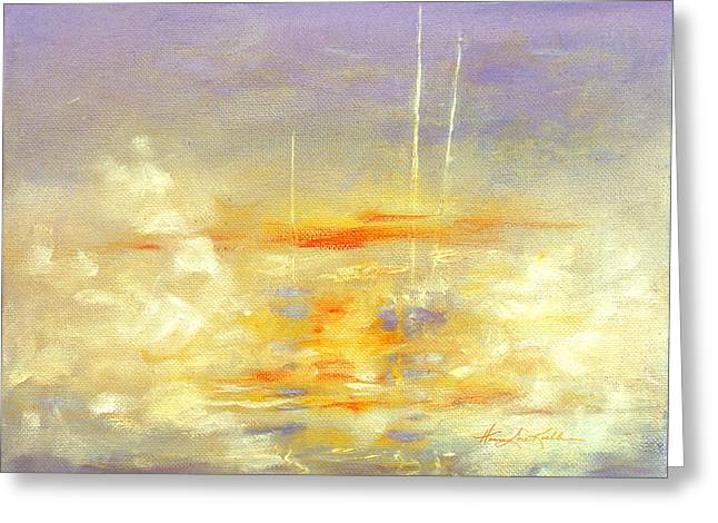 Sailboats At Dawn Greeting Card by Hanne Lore Koehler