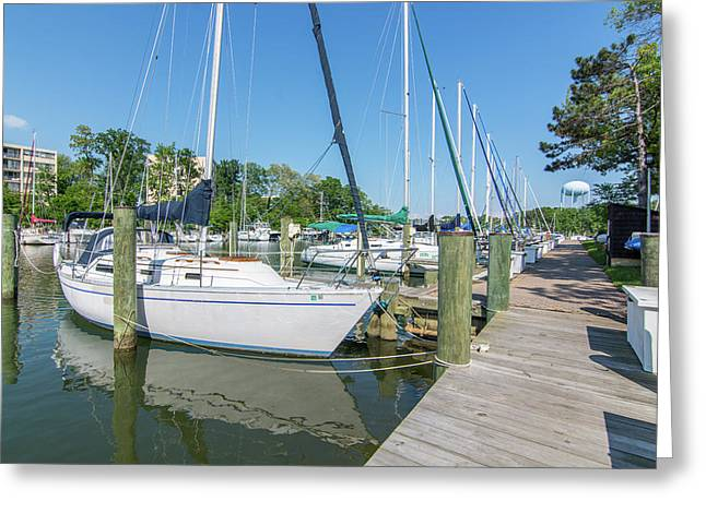 Greeting Card featuring the photograph Sailboats At Dock by Charles Kraus