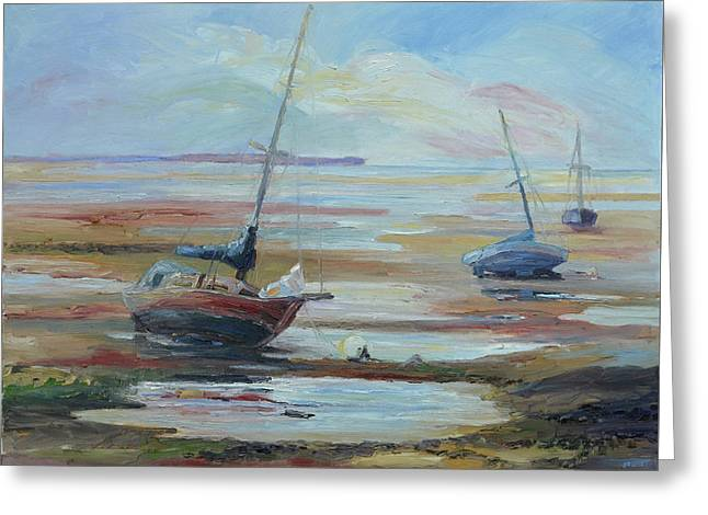 Sailboats At Low Tide Near Nelson, New Zealand Greeting Card by Barbara Pommerenke