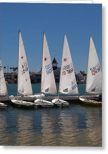 Sailboats At Newport Beach Greeting Card by Cliff Wassmann