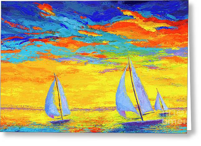 Greeting Card featuring the painting Sailboats At Sunset, Colorful Landscape, Impressionistic Art by Patricia Awapara