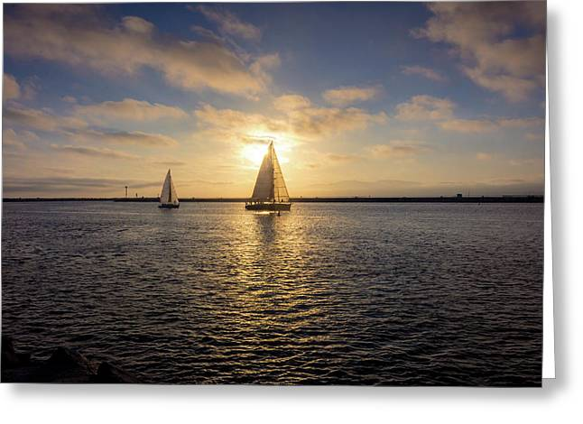 Sailboats At Sunset Greeting Card